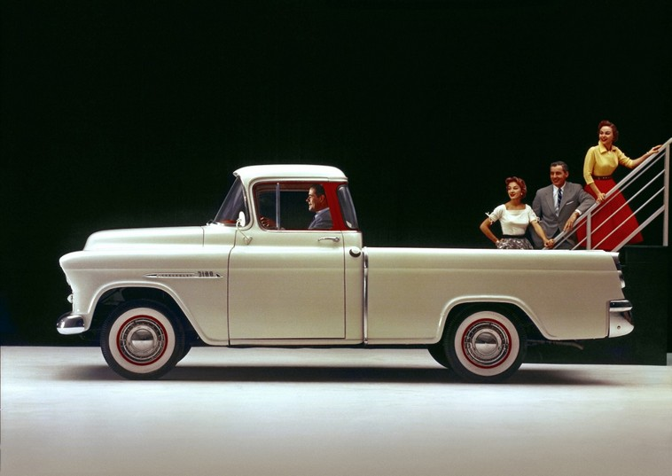 1955 Chevrolet 3100 Series Cameo Carrier half-ton pickup with 265-cubic-inch (4.3L) V-8 engine, rated at 180 horsepower and 260 lb-ft of torque.